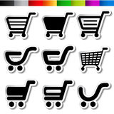 Stickers of shopping cart, trolley, item, button Royalty Free Stock Image