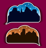 Stickers speech bubbles - night city Stock Photo