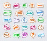 Stickers of speech bubbles set with sign - hello, yes, no, i love you. White color on transparent background for chat, your message, communication. Vector Royalty Free Stock Photo