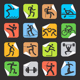 Stickers with sport icons. Stock Images