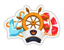 Stickers with steering wheel, captain`s hat, life preserver and anchor. Summer tropical sticker, label, logotype, badge on the travel, vacation, sailing. Icons stock illustration