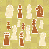 Stickers with stylized chess figures stock illustration
