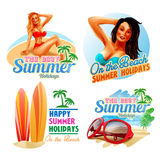 Stickers summer happy Royalty Free Stock Photo