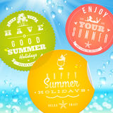 Stickers with summer vacation and travel emblems Stock Photos