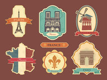 Stickers with symbols of France Stock Photos