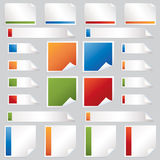 Stickers and tabs. Collection of blank stickers, squares and tabs in red blue green and orange Stock Image