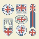 Stickers, tags and labels with Great Britain flag. Badges royalty free illustration
