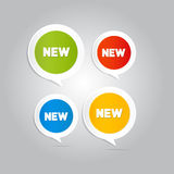 Stickers, Tags, Labels with New Title. On Grey Background Stock Photos