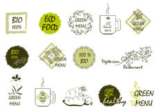 Stickers on the theme of ecology, healthy food and vegetarian fo Stock Photos