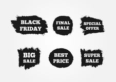 Stickers to attract customers. Super Big Final Sale, Black Friday, Best Price, Special Offer. Painted with a watercolor brush. Royalty Free Stock Photography