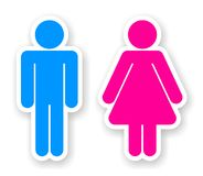 Stickers of toilet symbols. Stickers of man and woman toilet symbols Royalty Free Stock Image