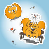 Stickers with two loved squirrel Stock Photography