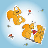 Stickers with two loved squirrel Stock Photo