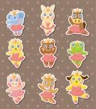 Stickers van de de ballerinadanser van het beeldverhaal de dierlijke Stock Afbeelding