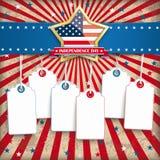 Stickers van de de Sterprijs van de onafhankelijkheidsdag de Gouden 6 Royalty-vrije Stock Afbeeldingen