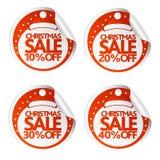Stickers 10.20.30.40 van de Kerstmisverkoop met santahoed Royalty-vrije Stock Foto's