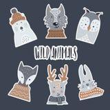 Stickers van document met een schaduw van wilde en bosdieren worden gemaakt dat vector illustratie