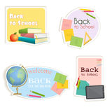 Stickers of various shapes with school supplies. Vector. Stickers of various shapes with school supplies. Soon the school. Vector illustration in cartoon style Royalty Free Stock Images