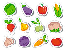 Stickers with vegetables Royalty Free Stock Image