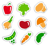 Stickers of vegetables Stock Photos