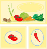 Stickers with vegetables Royalty Free Stock Photos