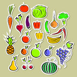 Stickers of vegetables and fruits Stock Photography
