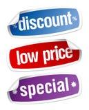 Stickers voor kortingsverkoop. Stock Afbeeldingen