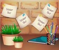 Stickers voor tekst met een bloempot op een baksteenachtergrond Royalty-vrije Stock Afbeeldingen