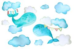 Stickers with whales and clouds vector illustration