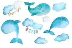 Stickers with whales stock illustration