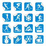 Stickers with winter sport icons. Royalty Free Stock Photos
