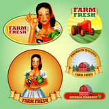 Stickers Woman Frame farm vegetables natural product green Stock Photography