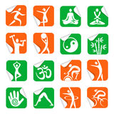 Stickers with yoga spa fitness icons Royalty Free Stock Images