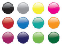 Stickerset1. A set of twelve coloured stickers Stock Image