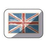 stickervlag het Verenigd Koninkrijk met ondoorzichtige grungetextuur vector illustratie