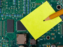 Stickie Note on Motherboard Stock Photos