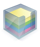 Stickiebox with stickies. In 4 colors, yellow, green, blue, pink Royalty Free Stock Photography
