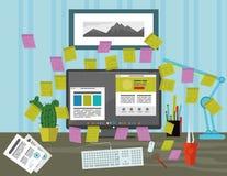 Stickies op het computerscherm in het bureau stock afbeelding