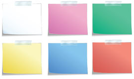 Stickies with tape. In 6 colors Stock Images