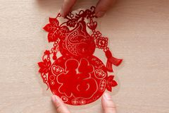 Sticking fluffy red flat paper-cut sticker as symbol of Chinese New Year the Chinese means fortune royalty free stock photos
