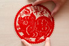 Sticking fluffy red flat paper-cut sticker as symbol of Chinese New Year of the pig the Chinese means the pig brings you safety stock photography