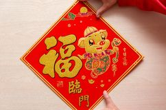 Sticking fluffy red sticker as symbol of Chinese New Year of the pig the Chinese means the pig brings you fortune and the. Sticking a fluffy red sticker as royalty free stock images