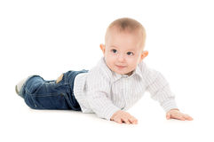 Sticking-out ears baby crawling Royalty Free Stock Photo