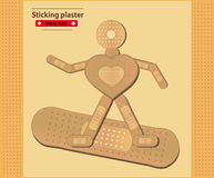 Sticking plaster Figure Surfing Heart Stock Photo
