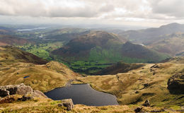 Stickle tarn and Langdale Valley Stock Image