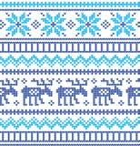 Stickmönster för vinterferie med julgranar Jul som sticker tröjadesign Ull stucken textur stock illustrationer