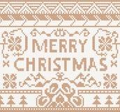 Stickmönster med glad jul royaltyfri illustrationer