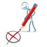 Stickman红色笔表决 免版税库存图片