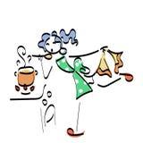 Stickman έννοια απεικόνισης Doodle Μαγειρεύοντας γυναίκα με τα νόστιμα τρόφιμα Στοκ Φωτογραφία