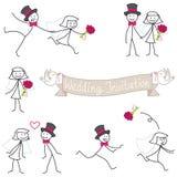 Stickman νύφη και νεόνυμφος γαμήλιων ζευγών Στοκ Εικόνες